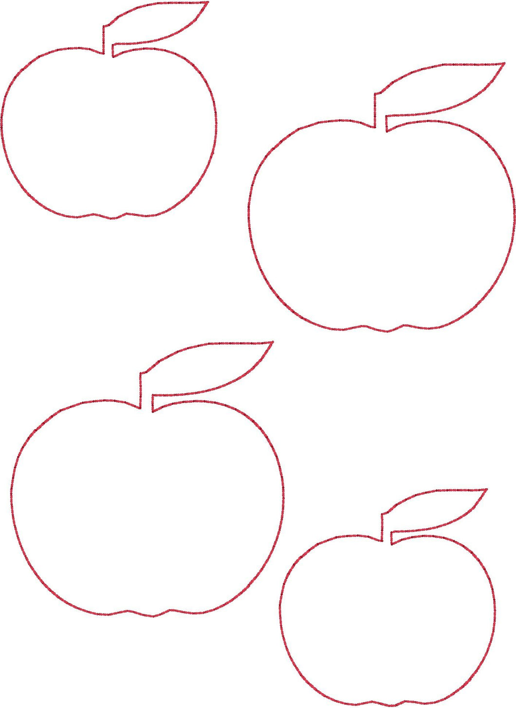 Apples - Machine Embroidery Quilting Design - 5x7 Hoop