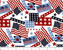 Load image into Gallery viewer, Cotton Fabric - Patriotic USA Flags Stars & Stripes
