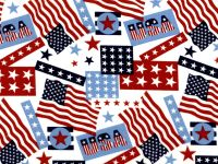 Cotton Fabric - Patriotic USA Flags Stars & Stripes