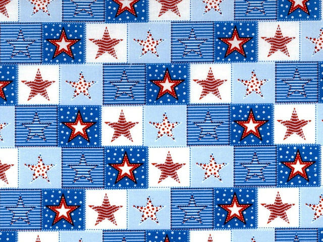 Patriotic Stars Cotton Fabric - Beachside Knits N Quilts