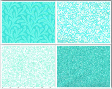 Cotton Fabric Fat Quarter Bundle - Caribbean Blue - Beachside Knits N Quilts