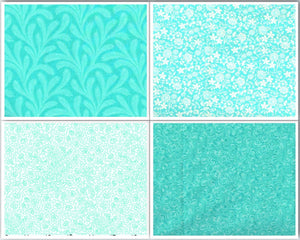 Cotton Fabric Fat Quarter Bundle - Caribbean Blue
