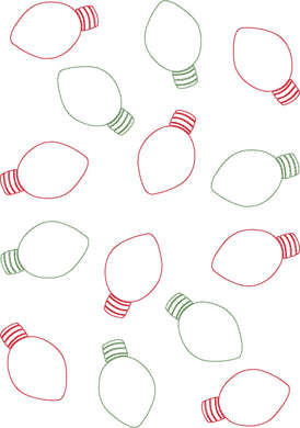 Christmas Lights Allover - Machine Embroidery Quilting Design - 8x12 Hoop