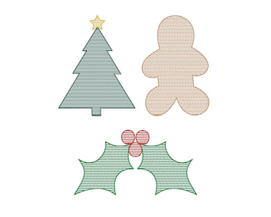 Christmas Stripes Set of 3 - Machine Embroidery Quilting Design - 4x4 Hoop - Beachside Knits N Quilts