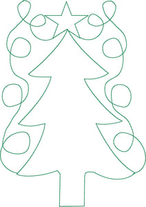 Christmas Tree Star Swirl - Machine Embroidery Quilting Design - 5x7 Hoop - Beachside Knits N Quilts