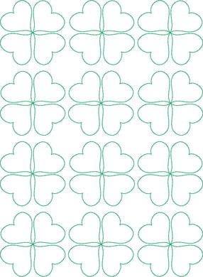 Clover Hearts - Machine Embroidery Quilting Design - 8x12 Hoop - Beachside Knits N Quilts
