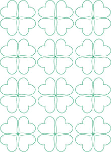 Clover Hearts - Machine Embroidery Quilting Design - 8x12 Hoop