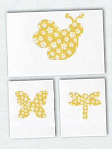 Iron On Fabric Appliqués - Bees, Dragonflies, Butterflies - Set of 9 - Beachside Knits N Quilts