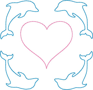 Dolphins & Heart - Machine Embroidery Quilting Design - 4x4 Hoop - Beachside Knits N Quilts