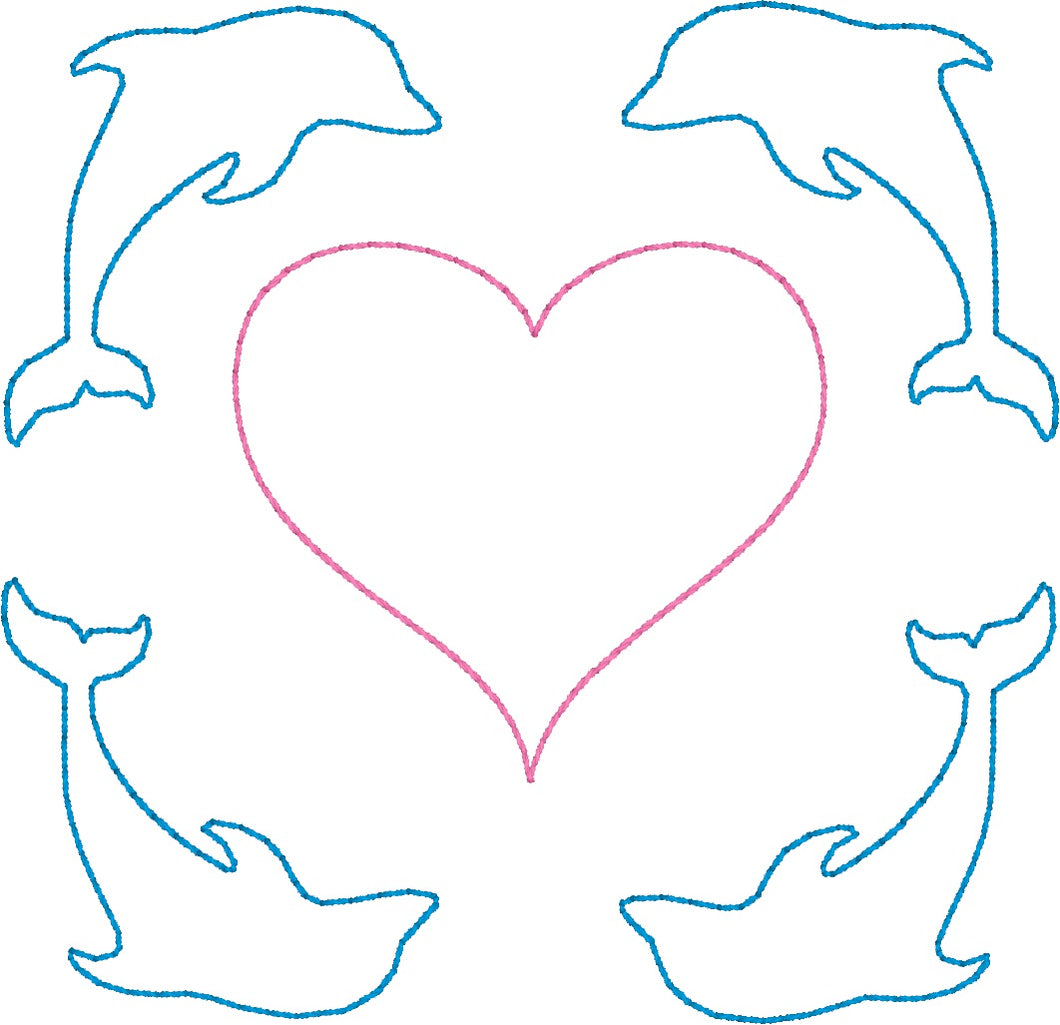 Dolphins & Heart - Machine Embroidery Quilting Design - 4x4 Hoop