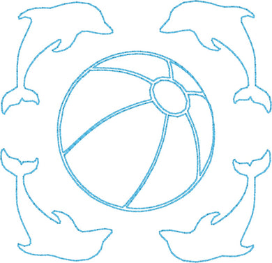 Dolphins & Beach Ball - Machine Embroidery Quilting Design - 4x4 Hoop - Beachside Knits N Quilts