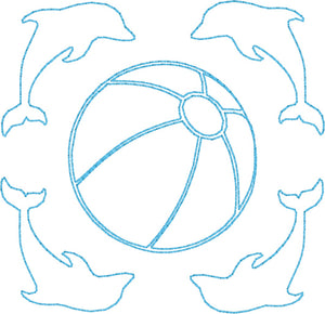 Dolphins & Beach Ball - Machine Embroidery Quilting Design - 4x4 Hoop