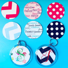 Load image into Gallery viewer, Personalized Round Key Chain - Black Dot w Initial - Beachside Knits N Quilts