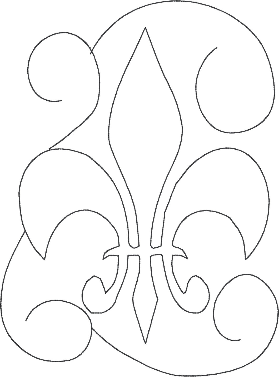 Fleur De Lis Swirl - Machine Embroidery Quilting Design - 5x7 Hoop - Beachside Knits N Quilts
