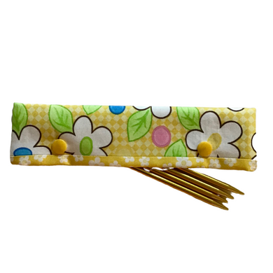 Knitting Needle Cozy - Project Keeper - Yellow Floral Moda Birdie - Beachside Knits N Quilts