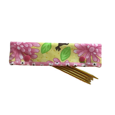 Knitting Needle Cozy - Project Keeper - Pink Floral Moda Birdie - Beachside Knits N Quilts
