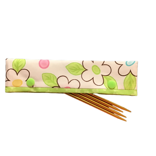 Knitting Needle Cozy - Project Keeper - White Green Floral Moda Birdie - Beachside Knits N Quilts