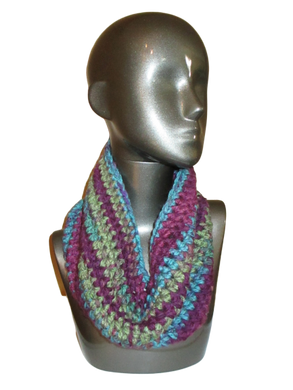 Royal Shades of Color Crochet Cowl - Beachside Knits N Quilts