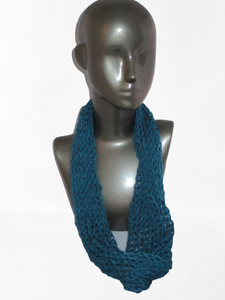 Lacy Open Knit Infinity Scarf - Dark Teal | Beachside Knits N Quilts