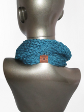 Load image into Gallery viewer, Drop Stitch Open Knit Infinity Scarf - Dark Teal - Beachside Knits N Quilts