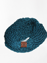 Load image into Gallery viewer, Lacy Open Knit Infinity Scarf - Dark Teal | Beachside Knits N Quilts
