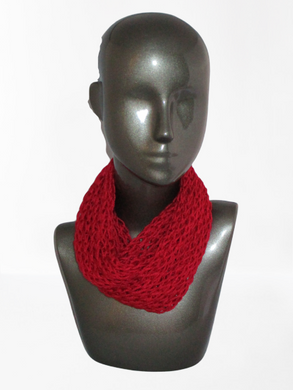 Lacy Open Knit Infinity Scarf - Red | Beachside Knits N Quilts