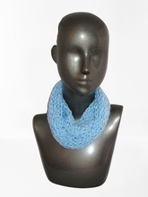 Load image into Gallery viewer, Lacy Open Knit Infinity Scarf - Sky Blue - Brown Tag | Beachside Knits N Quilts