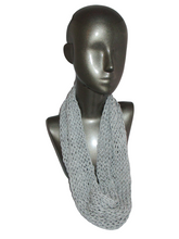 Load image into Gallery viewer, Lacy Open Knit Infinity Scarf - Light Gray - Gray Tag | Beachside Knits N Quilts