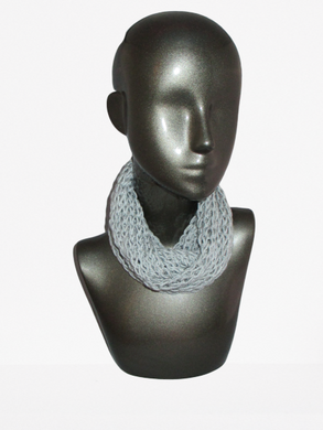 Lacy Open Knit Infinity Scarf - Light Gray - Brown Tag | Beachside Knits N Quilts