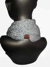 Load image into Gallery viewer, Drop Stitch Open Knit Infinity Scarf - Light Gray - Brown Tag - Beachside Knits N Quilts