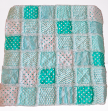 "Load image into Gallery viewer, Rag Quilt - Teal & White - 28"" x 28"""
