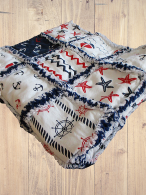 Rag Quilt - Nautical - Red White Blue - 29