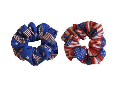 Jumbo Hair Scrunchies - Americana - Patriotic - Set of 2 Scrunchies