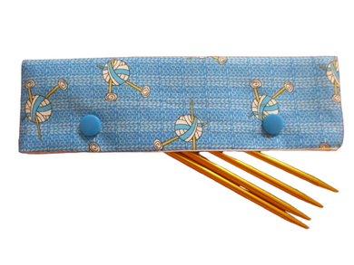 Knitting Needle Cozy - Project Keeper - Blue Knit Chicks