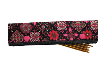 Knitting Needle Cozy - Project Keeper - Black Pink Floral