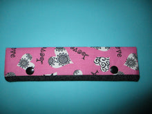 Load image into Gallery viewer, Knitting Needle Cozy - Project Keeper - Love Hearts Pink Black