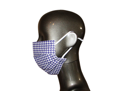 Pleated Face Mask with Adjustable Straps - Purple Houndstooth