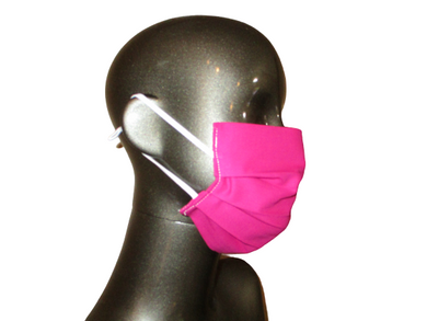 Pleated Face Mask with Adjustable Elastic - Hot Pink - Child Size