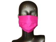 Load image into Gallery viewer, Pleated Face Mask with Adjustable Elastic - Hot Pink - Child Size