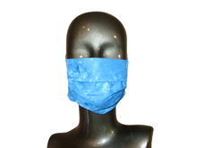 Load image into Gallery viewer, Pleated Face Mask with Adjustable Elastic - Blue Batik - Child Size