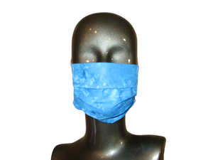 Pleated Face Mask with Adjustable Elastic - Blue Batik - Child Size