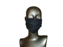 Load image into Gallery viewer, Pleated Face Mask with Adjustable Straps - Black