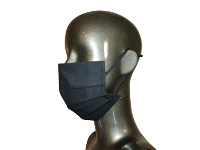 Pleated Face Mask with Adjustable Straps - Black