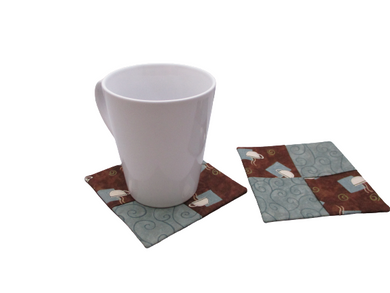 Criss Cross Coasters - Moda Bistro Coffee Cup and Swirl Blue Brown