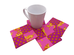 Criss Cross Coasters - Butterflies and Polka Dots Purple Pink Gold - Beachside Knits N Quilts