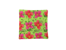 Load image into Gallery viewer, Criss Cross Coasters - Scrappy Tropical Poppies Hibiscus Yellow Pink Green