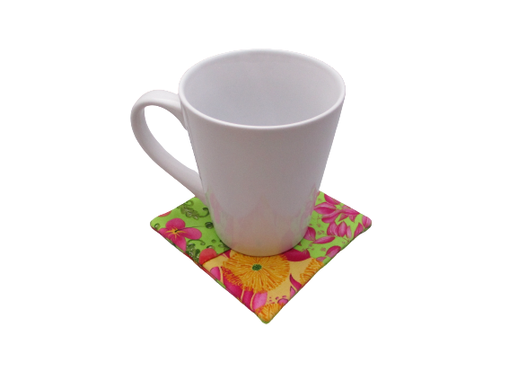 Criss Cross Coasters - Scrappy Tropical Poppies Hibiscus Yellow Pink Green
