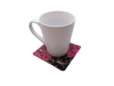 Criss Cross Coasters - Scrappy Bird Floral Leaves Pink Black Gray