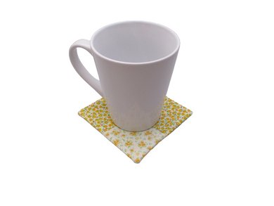 Criss Cross Coasters - Yellow White Calico Tea Roses - Beachside Knits N Quilts