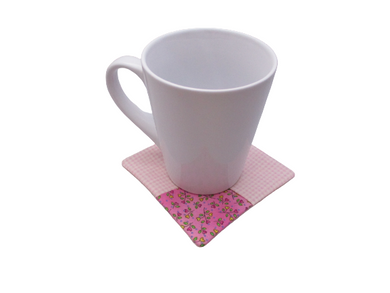 Criss Cross Coasters - Gingham Hearts Pink